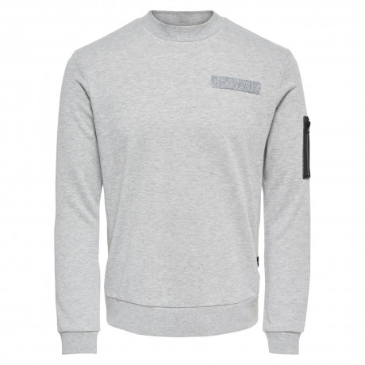 Only & Sons Crew Neck Colin Sweatshirt Light Grey Melange | Jean Scene