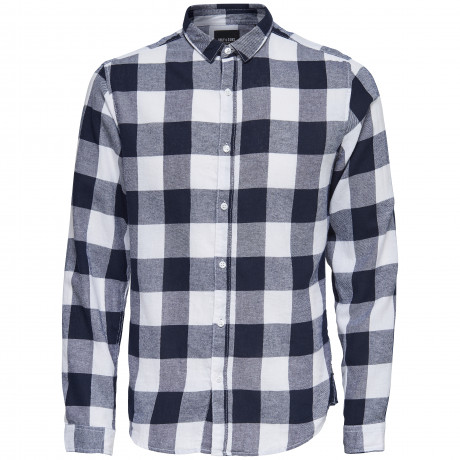 Only & Sons Godson Check Shirt Long Sleeve Night Sky Blue | Jean Scene