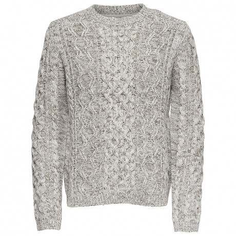 Only & Sons Crew Neck Wool Blend Heath Jumper Cloud Dancer | Jean Scene