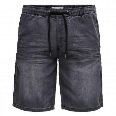 Only & Sons Men's Linus Denim Jog Shorts Grey | Jean Scene