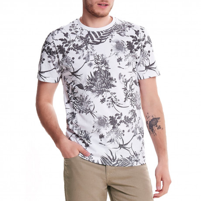Only & Sons Crew Neck Solomon Print T-shirt White | Jean Scene