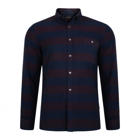 French Connection Pop Flannel Stripe Long Sleeve Shirt Bordeaux/Marine | Jean Scene
