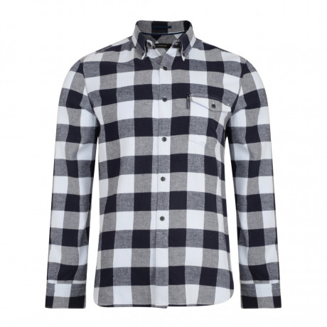 French Connection Pop Flannel Check Long Sleeve Shirt Cold Sky | Jean Scene