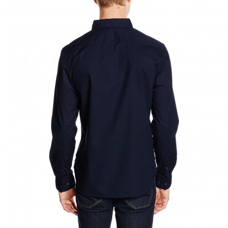 French Connection Plain Long Sleeve Shirt Marine Blue | Jean Scene