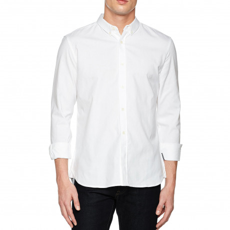 French Connection Oxford Long Sleeve Shirt White | Jean Scene