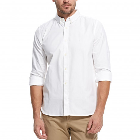 French Connection Soft Oxford Long Sleeve Shirt White | Jean Scene