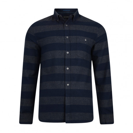 French Connection Pop Flannel Stripe Long Sleeve Shirt Charcoal Melange Marine | Jean Scene