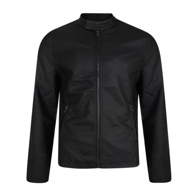 French Connection Men's Faux Leather Biker Jacket Black | Jean Scene