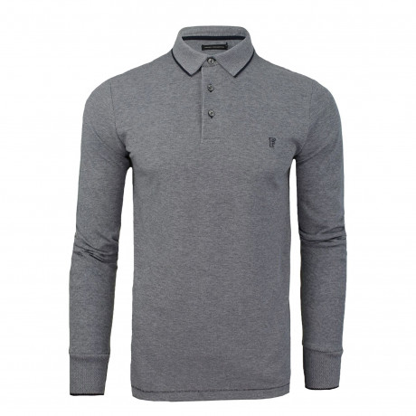 French Connection Long Sleeve Cotton Oxford Polo Shirt Marine Blue