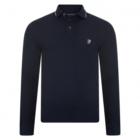 French Connection Long Sleeve Cotton F Polo Pique T-Shirt Marine Blue | Jean Scene