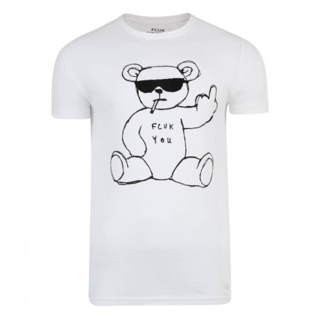 French Connection FCUK You Rude Bear T-shirt Optic White Image