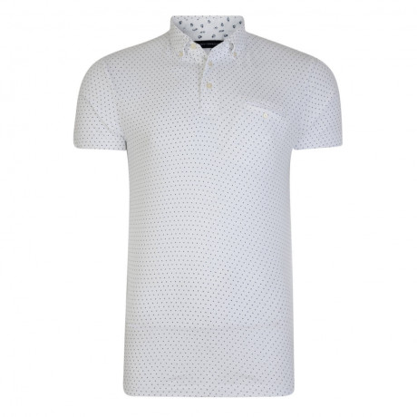 French Connection Micro Mix Dot Marlon Polo Shirt White