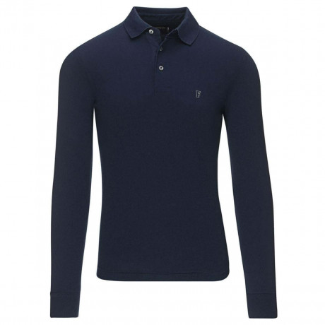 French Connection Summer Brunswick Long Sleeve Polo Shirt Blue