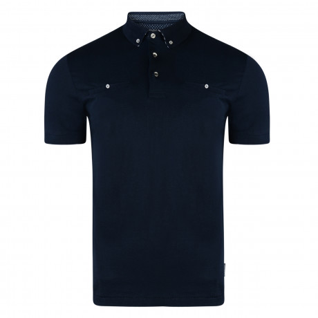 French Connection Micro Winter Premium Polo Shirt T-Shirt Marine Blue | Jean Scene