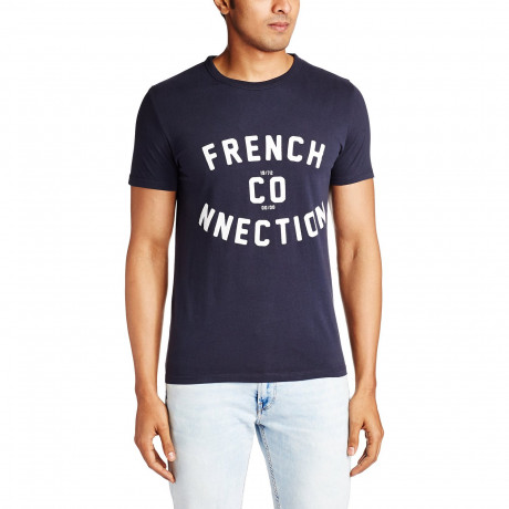 French Connection CO-NNECTION Slim T-shirt Marine Blue   Jean Scene