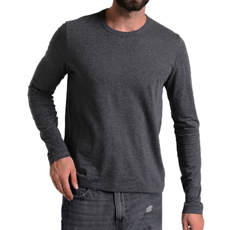 French Connection Crew Neck Long Sleeve T-Shirt Long Sleeve Charcoal | Jean Scene