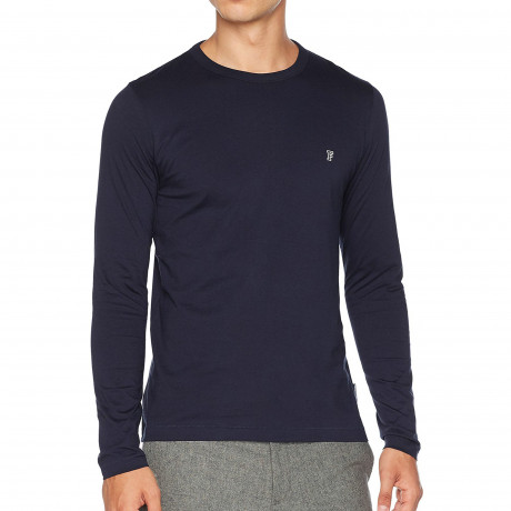 French Connection Crew Neck Long Sleeve T-Shirt Long Sleeve Marine Blue | Jean Scene