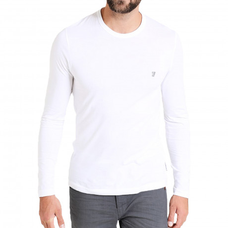 French Connection Crew Neck Long Sleeve T-Shirt Long Sleeve White | Jean Scene