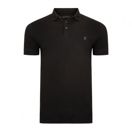 French Connection Basic Sneezy F Polo Pique T-Shirt Black | Jean Scene