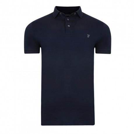 French Connection Basic Sneezy F Polo Pique T-Shirt Marine Blue | Jean Scene