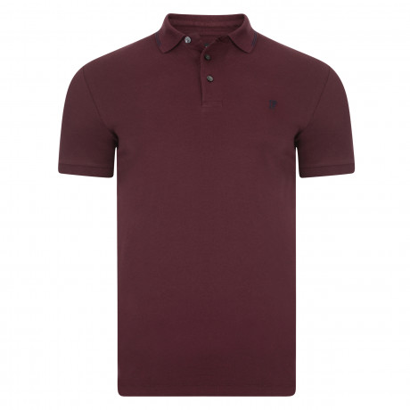 French Connection Simple Cotton F Polo Shirt Bordeaux | Jean Scene