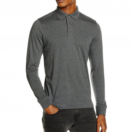 French Connection Brunswick Long Sleeve Polo Charcoal | Jean Scene