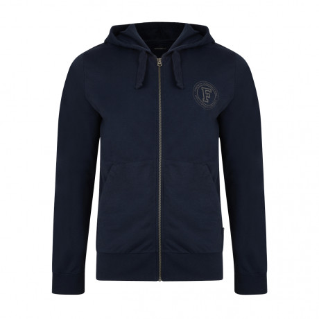 French Connection Men's 57AZC Zip Up Hoodie Marine Blue | Jean Scene