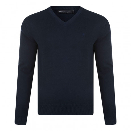 French Connection V-Neck Cotton Jumper Marine Blue Image