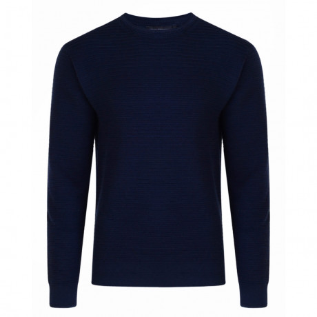 French Connection Mozart Crew Neck Cotton Jumper Marine Blue