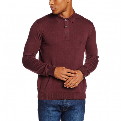 French Connection Long Sleeve Cotton Knit Polo Shirt Bordeaux | Jean Scene