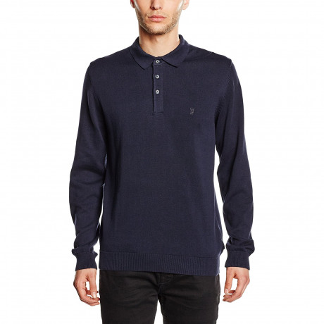 French Connection Long Sleeve Cotton Knit Polo Shirt Marine Blue | Jean Scene