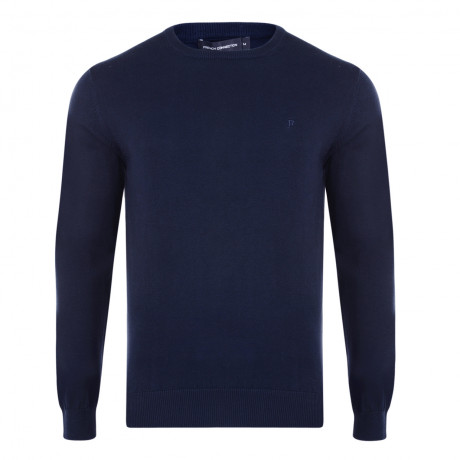 French Connection Crew Neck Cotton Jumper Marine Blue | Jean Scene