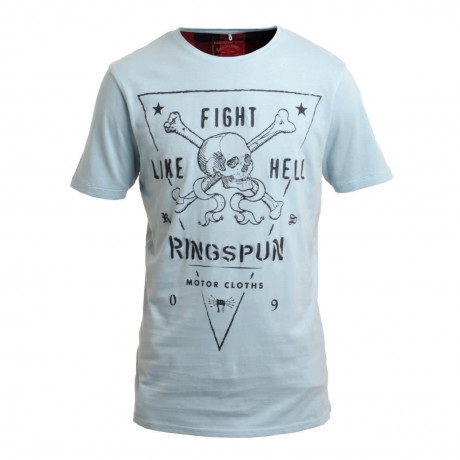 Ringspun Crew Neck Fights Print T-shirt Sky