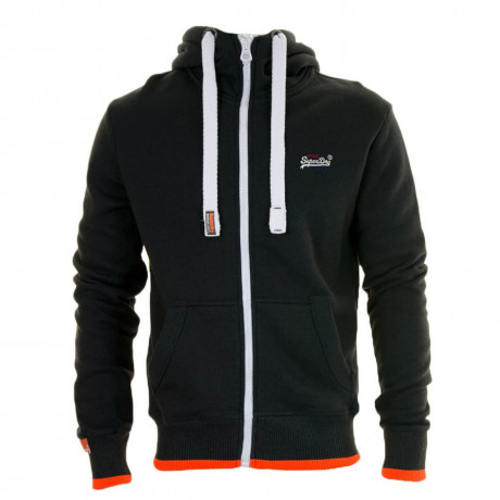 Superdry Men's Orange Label High Pop Zip Hoodie Oil Black