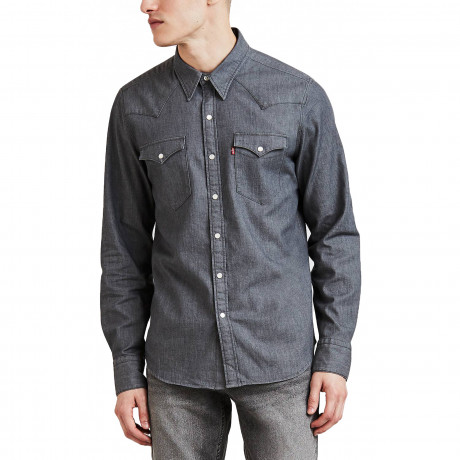 Levis Barstow Western Men's Shirt Gray Stretch Rinse | Jean Scene