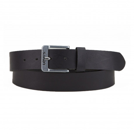 Levis Metal Buckle Logo Leather Belt Black | Jean Scene