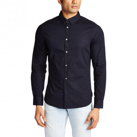 French Connection Mix Dott Long Sleeve Marine Blue Shirt