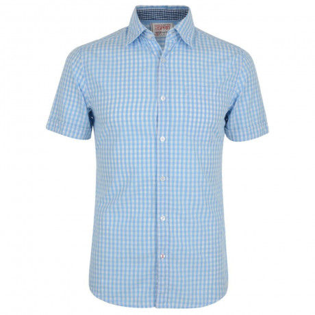 Esprit Slim Fit Short Sleeve Check Shirt Air Blue