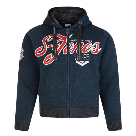 Smith & Jones Men's Borovet Faux Fur Hooded Top Navy Marl Blue | Jean Scene