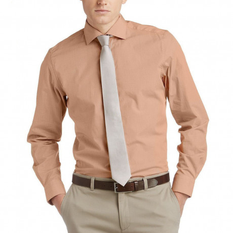 Esprit Slim Fit Long Sleeve Business Shirt Bronze Orange