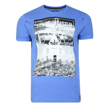Firetrap Crew Neck City Bridge Print T-shirt Ampardo Blue