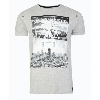 Firetrap Crew Neck City Bridge Print T-shirt Grey