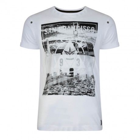 Firetrap Crew Neck City Bridge Print T-shirt White