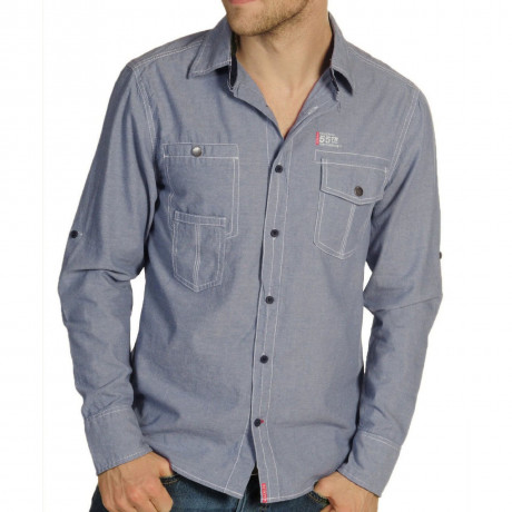 Soul Star Long Sleeve Shirt Plain Blue Image