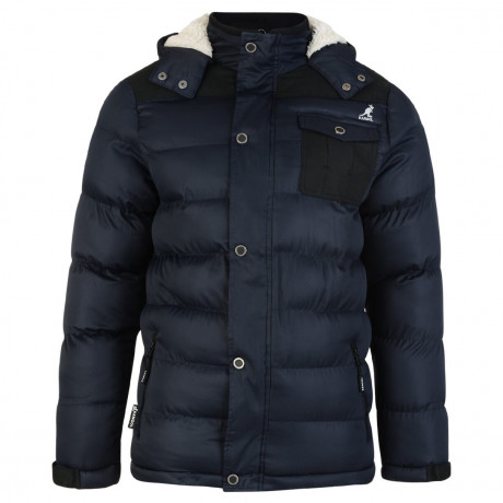 Kangol Delter Hooded Padded Winter Puffer Jacket Navy Blue