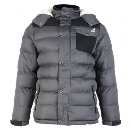 Kangol Delter Hooded Padded Winter Puffer Jacket Storm Grey