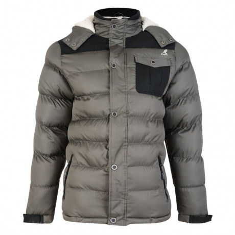 Kangol Delter Hooded Padded Winter Puffer Jacket Taupe