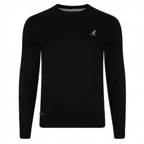 Kangol Drem Crew Neck Cotton Blend Jumper Black