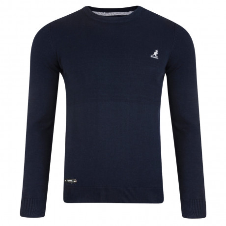 Kangol Drem Crew Neck Cotton Blend Jumper Navy