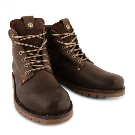 Wrangler Lace Up Leather Gatherer Man Boots Mahogany